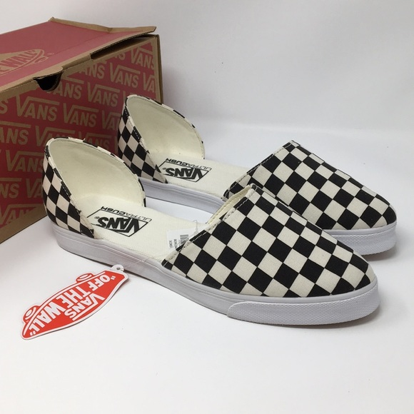 7b69e1ec65c33f VANS Black Checkered Slip On skimmer Size 6.5 8.0